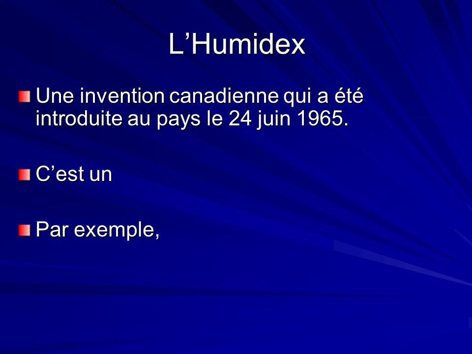 L'Humidex Une invention canadienne qui a été introduite au pays le 24 juin 1965.