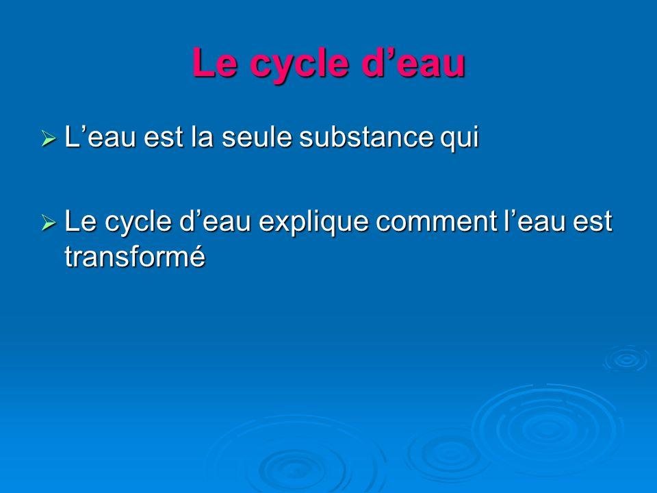 Le cycle d'eau L'eau est la seule substance qui