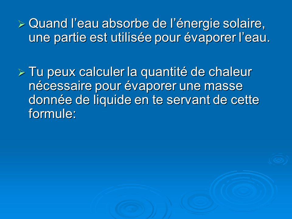 Quand l'eau absorbe de l'énergie solaire, une partie est utilisée pour évaporer l'eau.