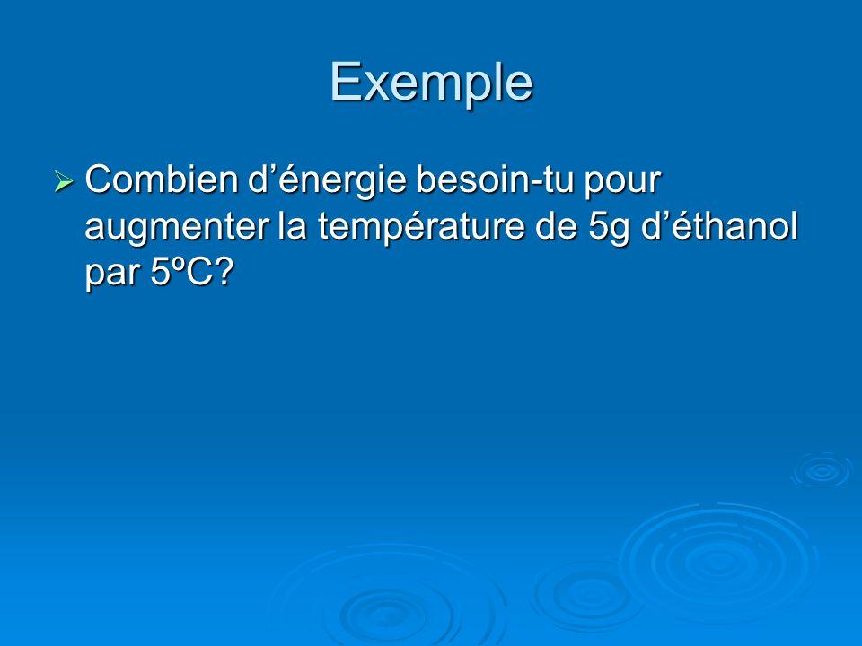 Exemple Combien d'énergie besoin-tu pour augmenter la température de 5g d'éthanol par 5ºC