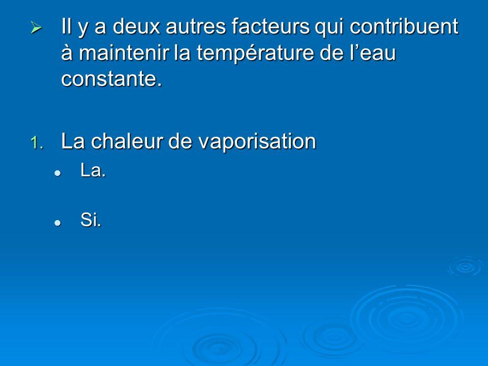 La chaleur de vaporisation
