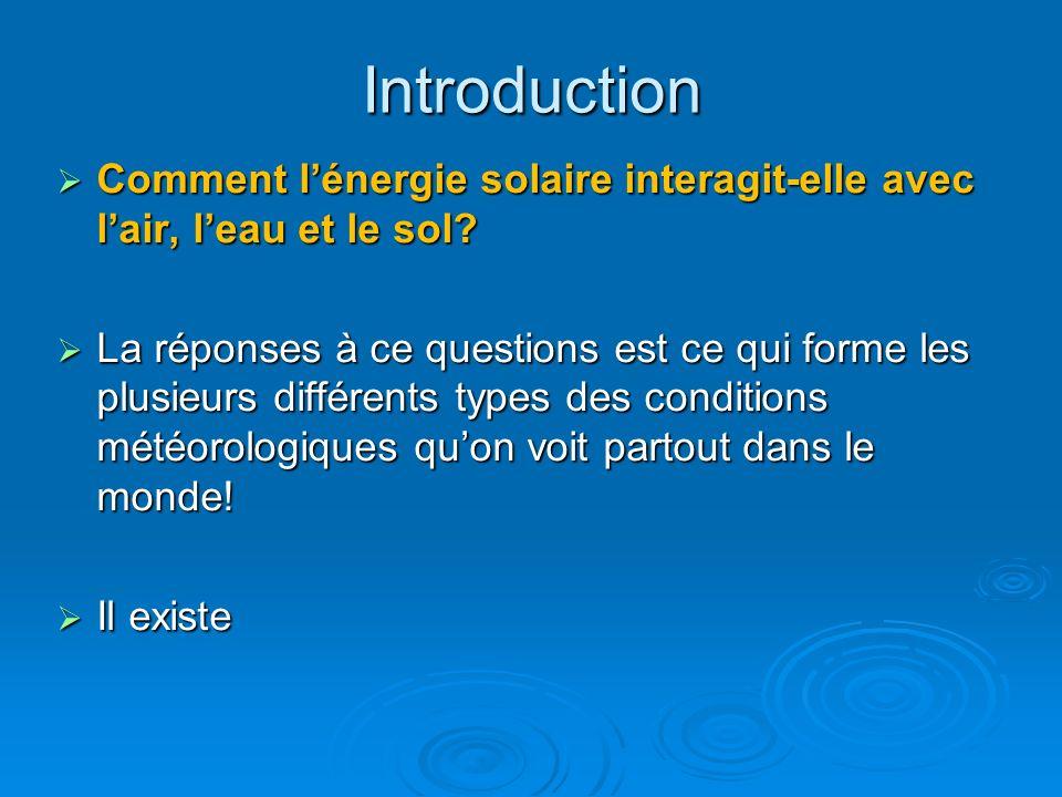 Introduction Comment l'énergie solaire interagit-elle avec l'air, l'eau et le sol