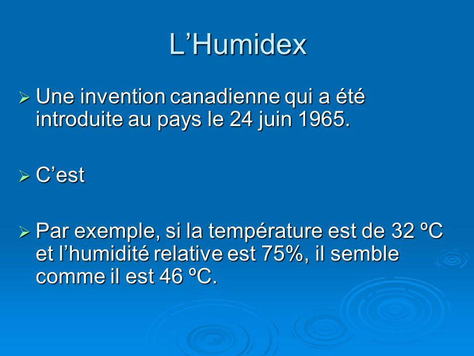 L'Humidex Une invention canadienne qui a été introduite au pays le 24 juin 1965. C'est.