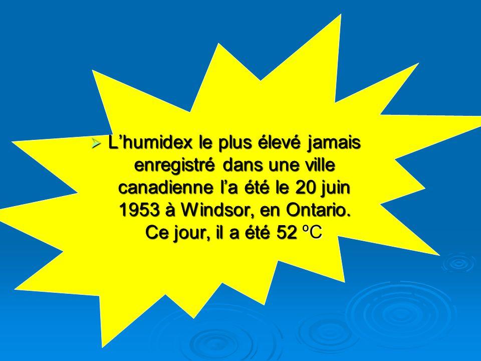 L'humidex le plus élevé jamais enregistré dans une ville canadienne l'a été le 20 juin 1953 à Windsor, en Ontario.