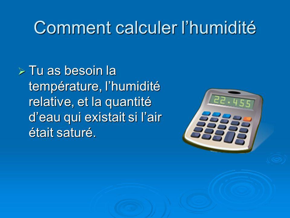 Comment calculer l'humidité