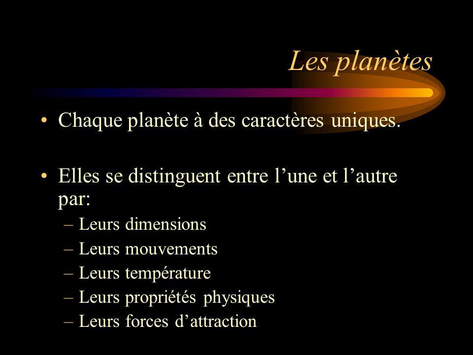 Les planètes Chaque planète à des caractères uniques.