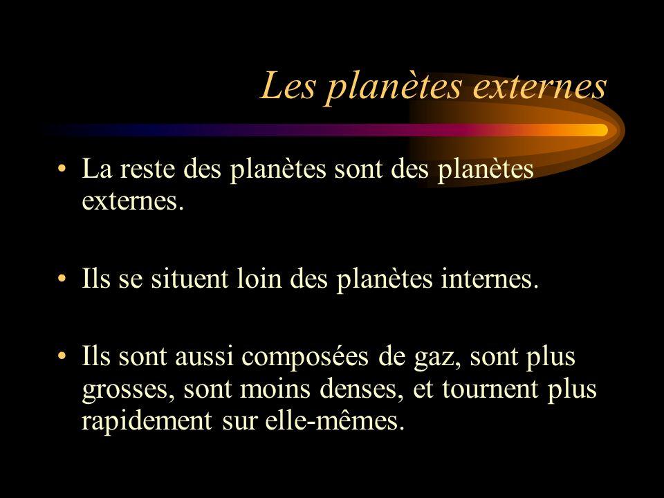 Les planètes externes La reste des planètes sont des planètes externes. Ils se situent loin des planètes internes.