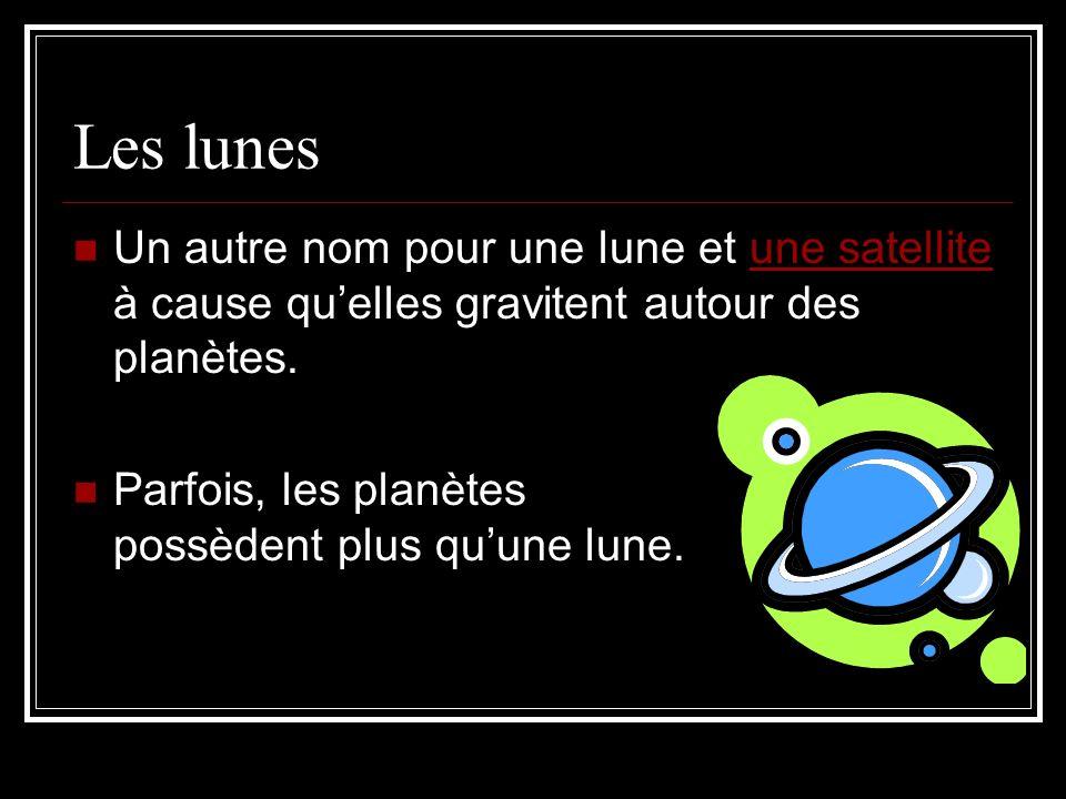 Les lunes Un autre nom pour une lune et une satellite à cause qu'elles gravitent autour des planètes.