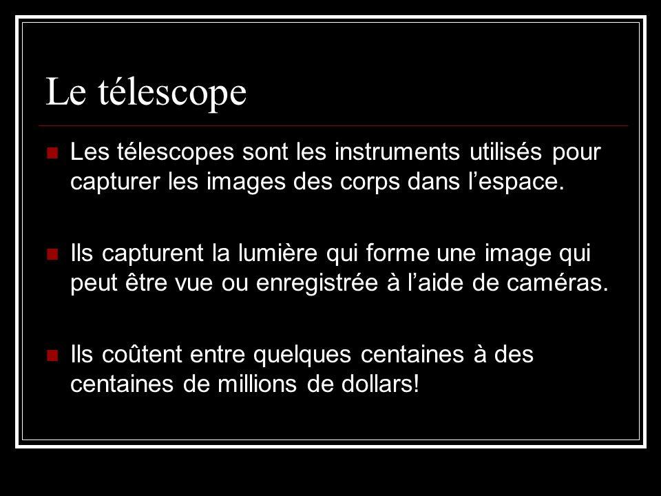 Le télescope Les télescopes sont les instruments utilisés pour capturer les images des corps dans l'espace.