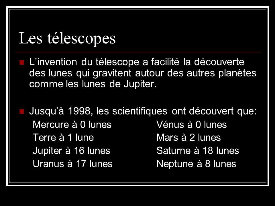 Les télescopes L'invention du télescope a facilité la découverte des lunes qui gravitent autour des autres planètes comme les lunes de Jupiter.