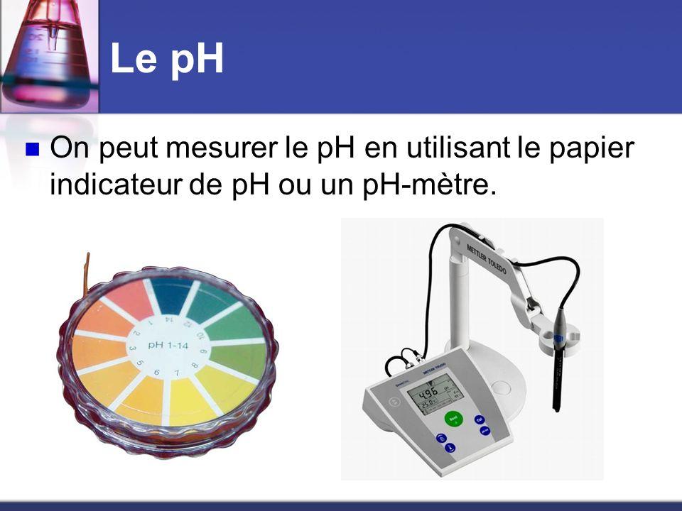 Le pH On peut mesurer le pH en utilisant le papier indicateur de pH ou un pH-mètre.