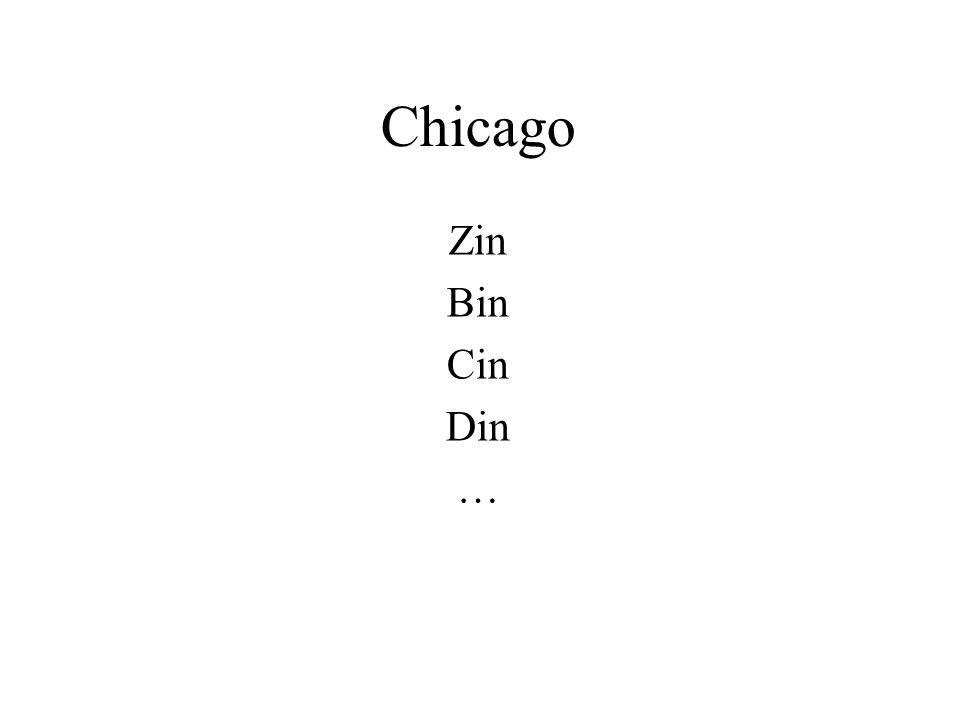 Chicago Zin Bin Cin Din …