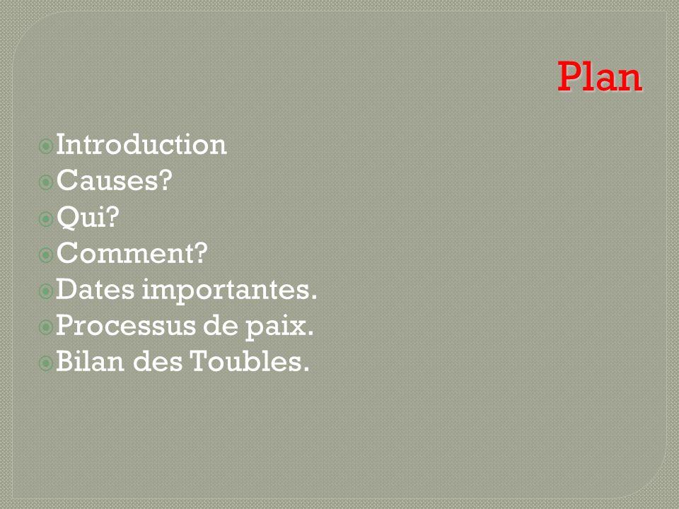 Plan Introduction Causes Qui Comment Dates importantes.