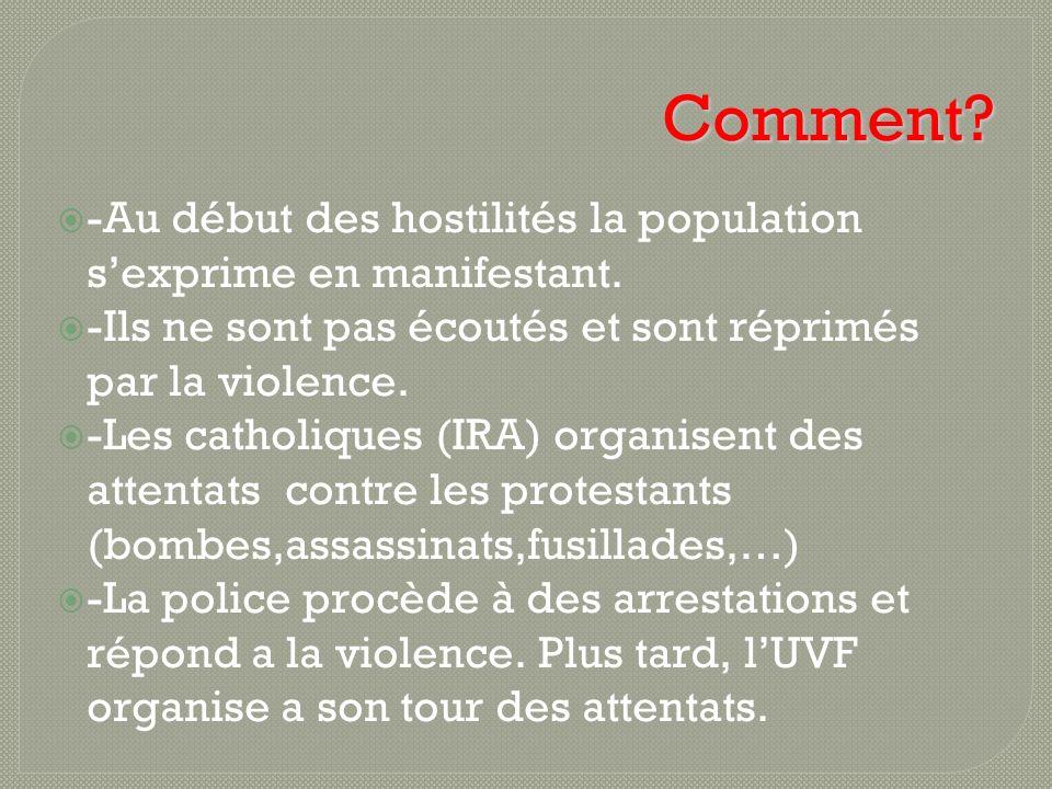 Comment -Au début des hostilités la population s'exprime en manifestant. -Ils ne sont pas écoutés et sont réprimés par la violence.