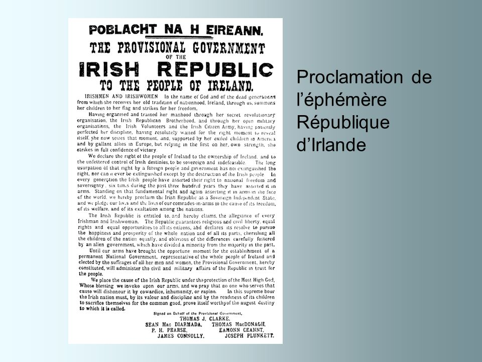 Proclamation de l'éphémère République d'Irlande
