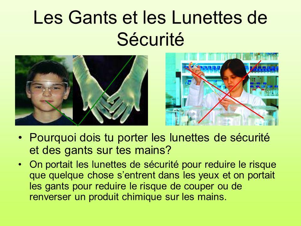Les Gants et les Lunettes de Sécurité