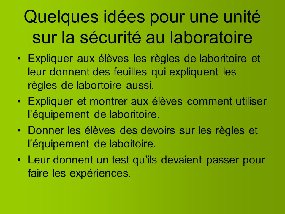 Quelques idées pour une unité sur la sécurité au laboratoire