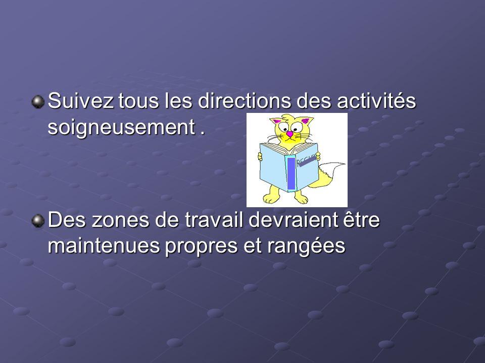 Suivez tous les directions des activités soigneusement .