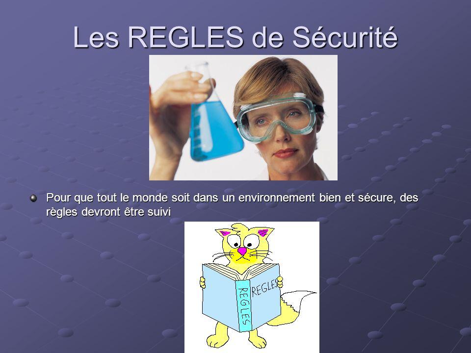 Les REGLES de Sécurité Pour que tout le monde soit dans un environnement bien et sécure, des règles devront être suivi.