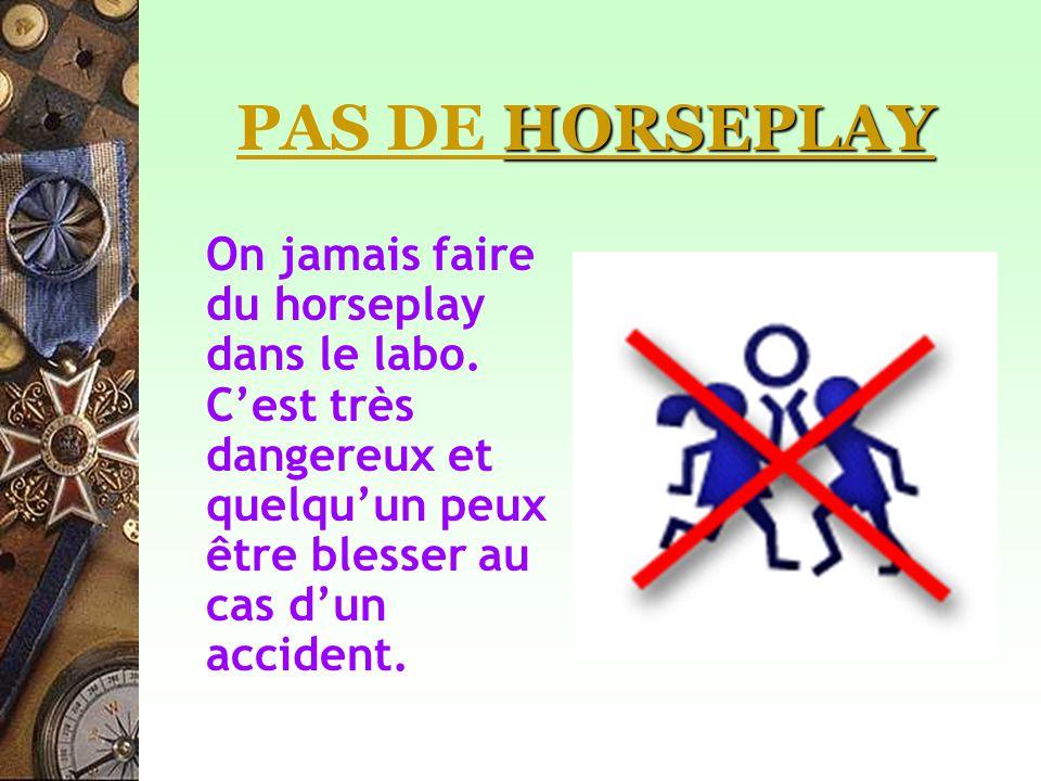 PAS DE HORSEPLAY On jamais faire du horseplay dans le labo.