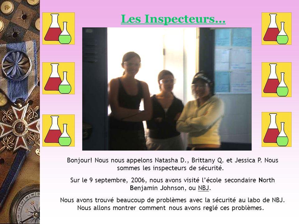 Les Inspecteurs… Bonjour! Nous nous appelons Natasha D., Brittany Q. et Jessica P. Nous sommes les inspecteurs de sécurité.