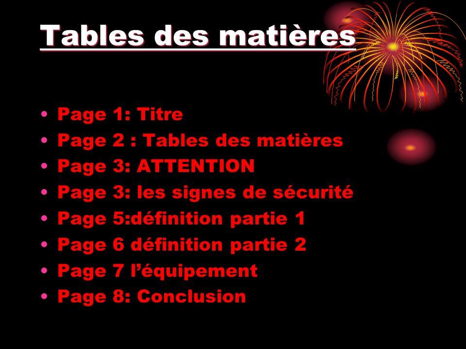 Tables des matières Page 1: Titre Page 2 : Tables des matières