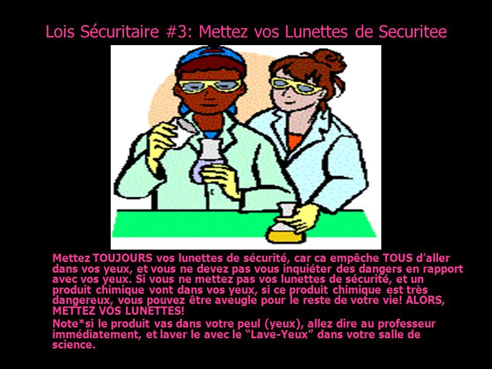 Lois Sécuritaire #3: Mettez vos Lunettes de Securitee