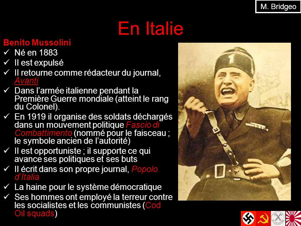 En Italie Benito Mussolini Né en 1883 Il est expulsé