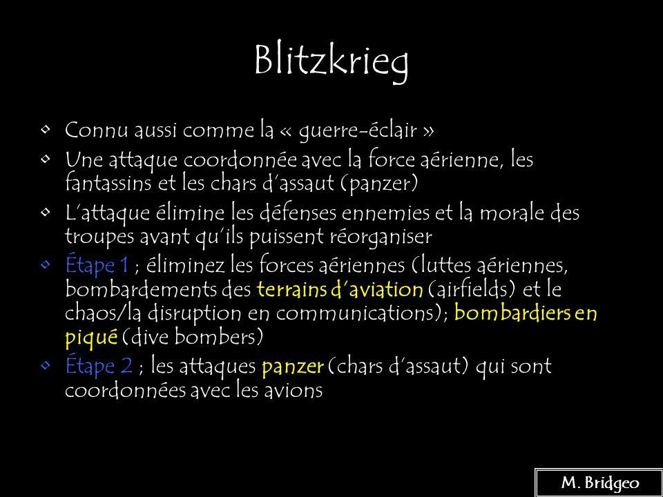 Blitzkrieg Connu aussi comme la « guerre-éclair »