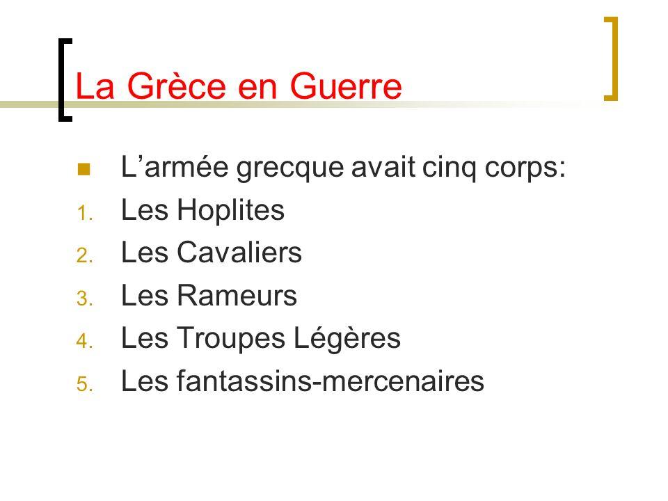 La Grèce en Guerre L'armée grecque avait cinq corps: Les Hoplites