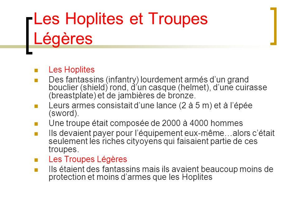Les Hoplites et Troupes Légères