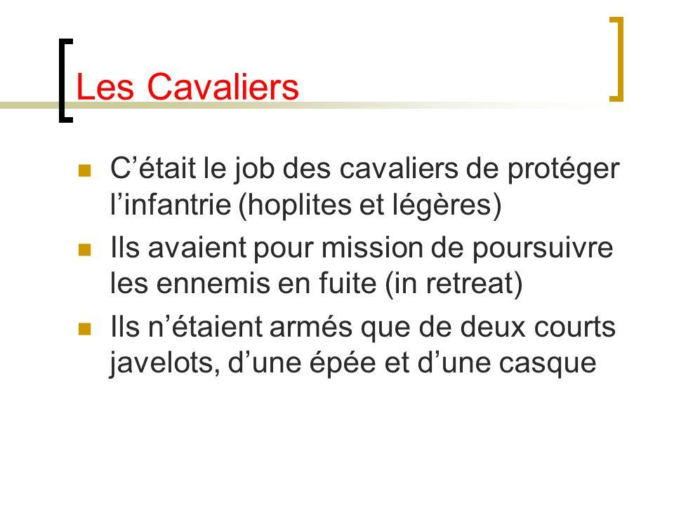 Les Cavaliers C'était le job des cavaliers de protéger l'infantrie (hoplites et légères)