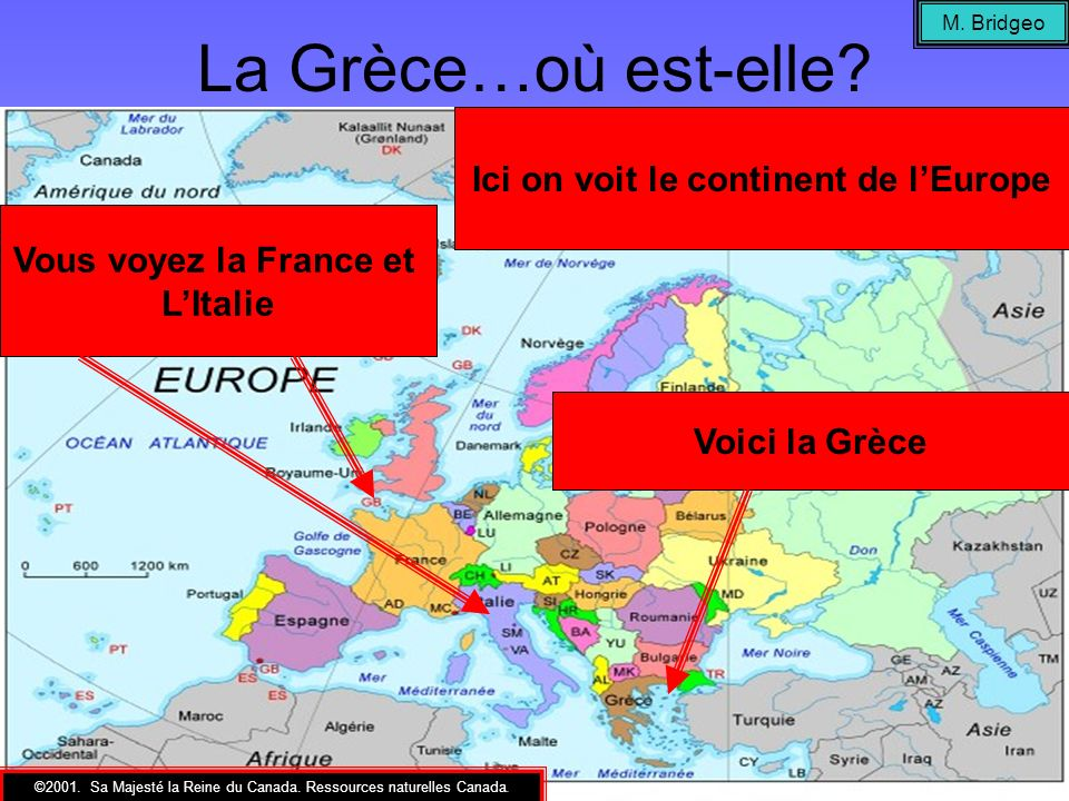 Ici on voit le continent de l'Europe