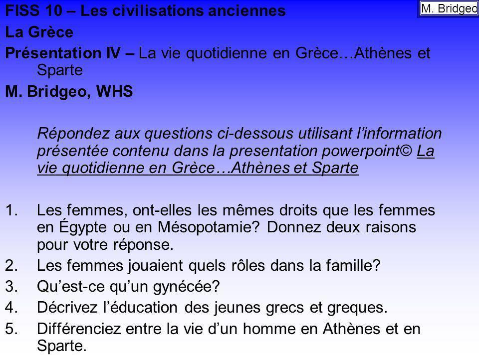 FISS 10 – Les civilisations anciennes La Grèce
