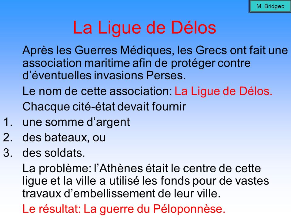 La Ligue de Délos Le nom de cette association: La Ligue de Délos.