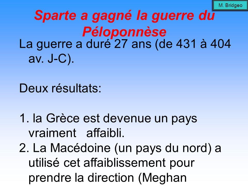 Sparte a gagné la guerre du Péloponnèse