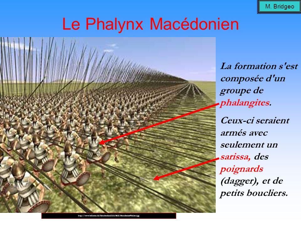 M. Bridgeo Le Phalynx Macédonien. La formation s est composée d un groupe de phalangites.