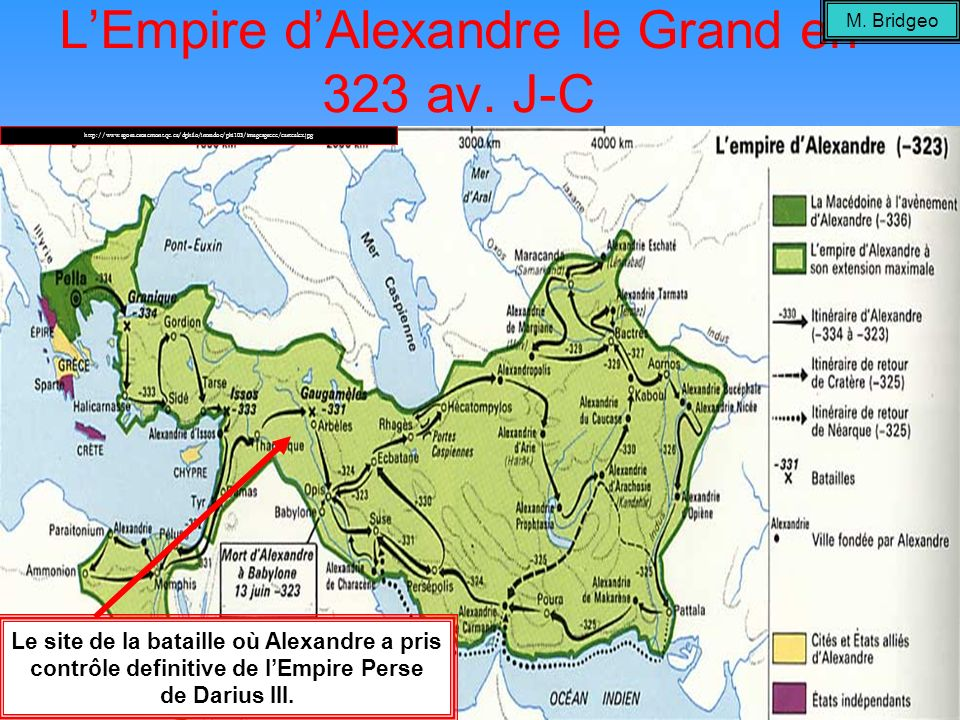 L'Empire d'Alexandre le Grand en 323 av. J-C
