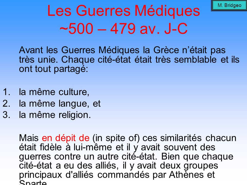 Les Guerres Médiques ~500 – 479 av. J-C