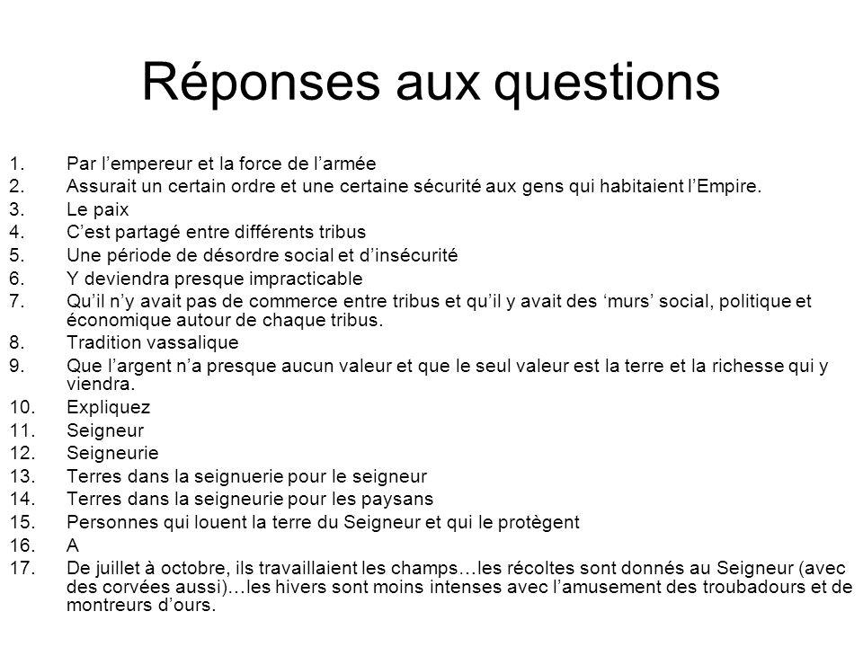 Réponses aux questions