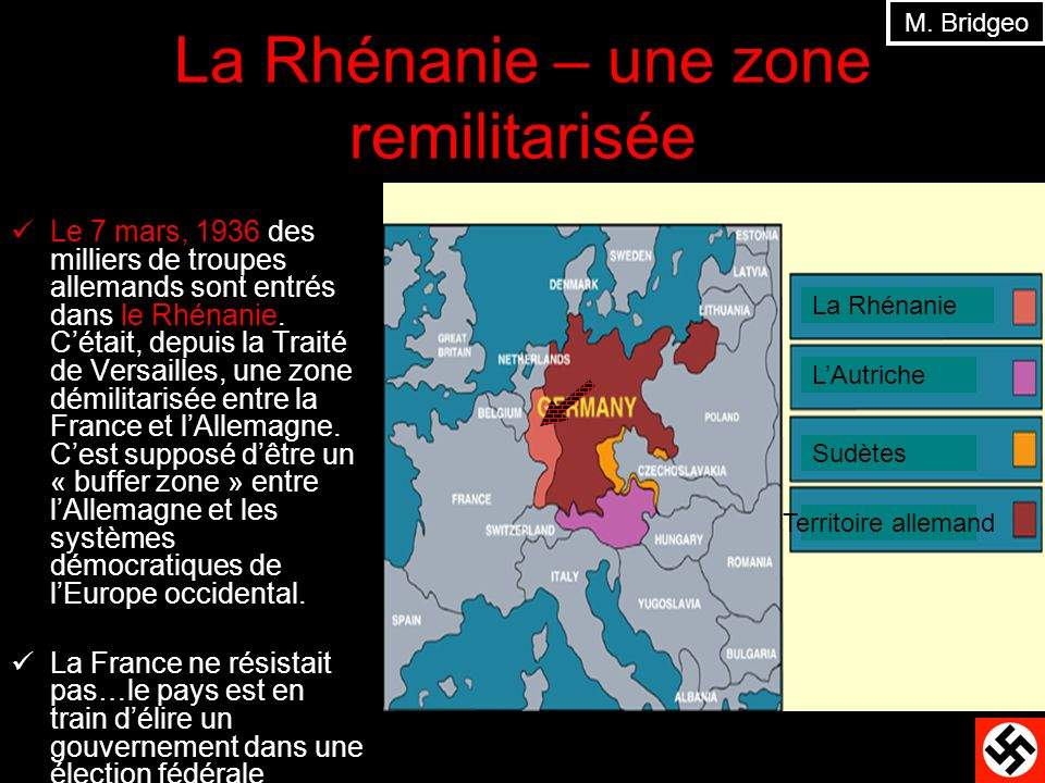 La Rhénanie – une zone remilitarisée
