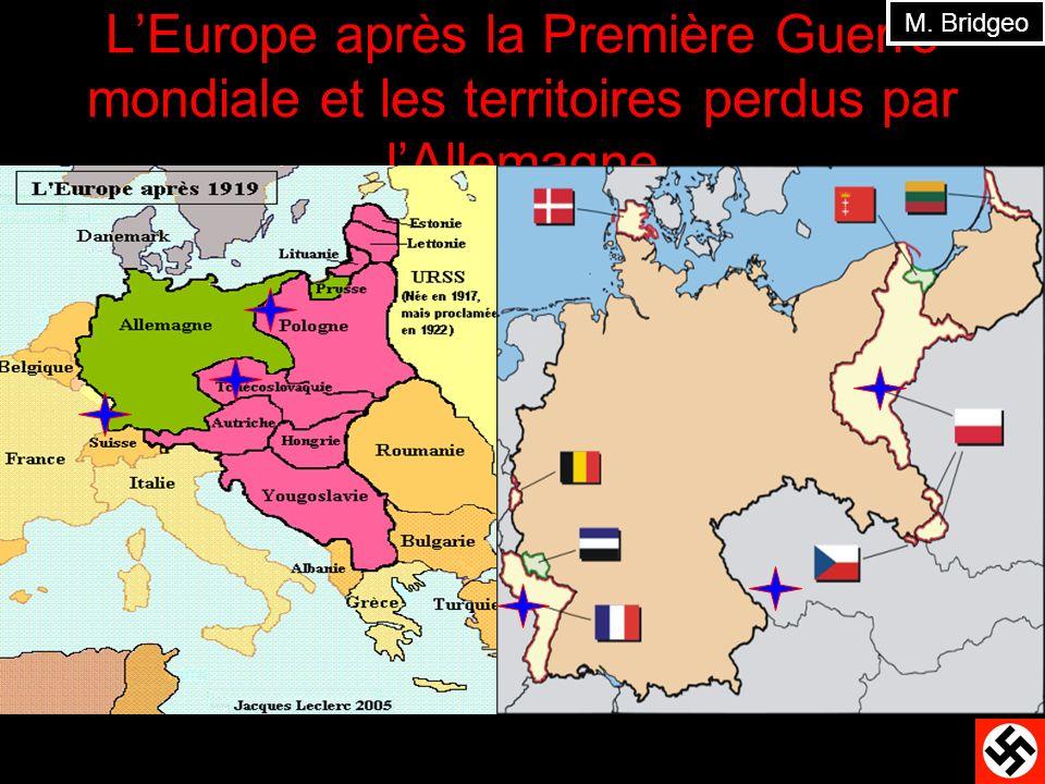 M. Bridgeo L'Europe après la Première Guerre mondiale et les territoires perdus par l'Allemagne