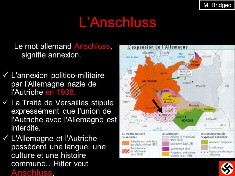 L'Anschluss Le mot allemand Anschluss, signifie annexion.