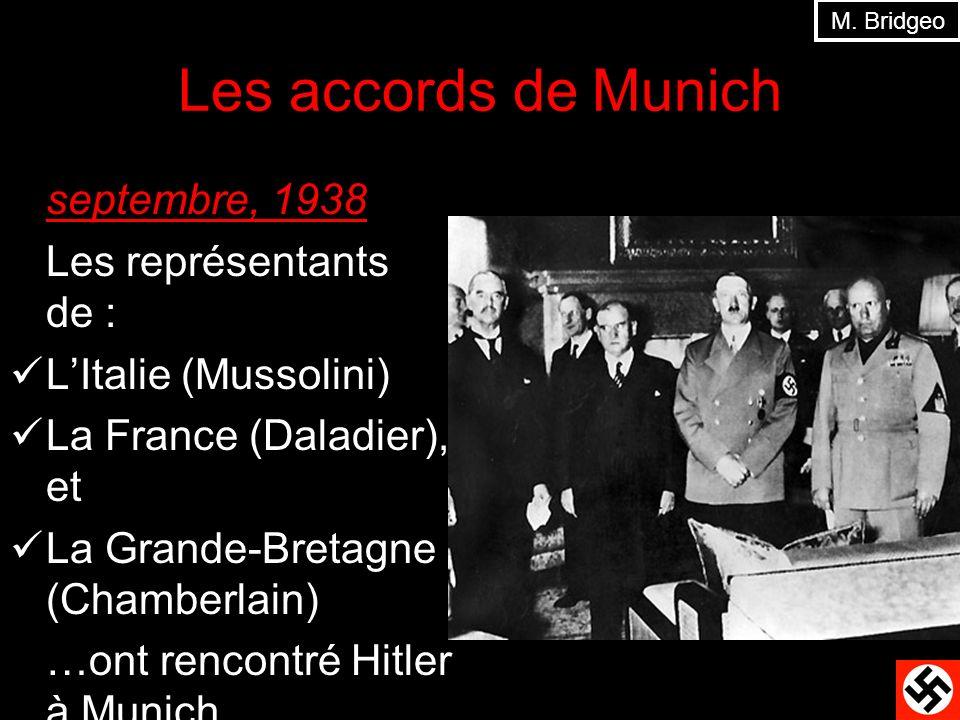 Les accords de Munich septembre, 1938 Les représentants de :
