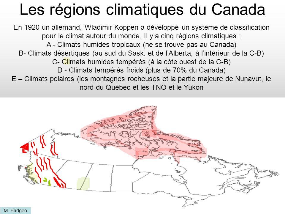 Les régions climatiques du Canada