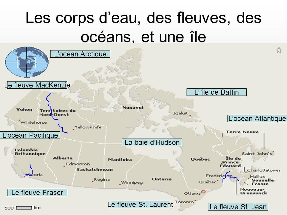 Les corps d'eau, des fleuves, des océans, et une île