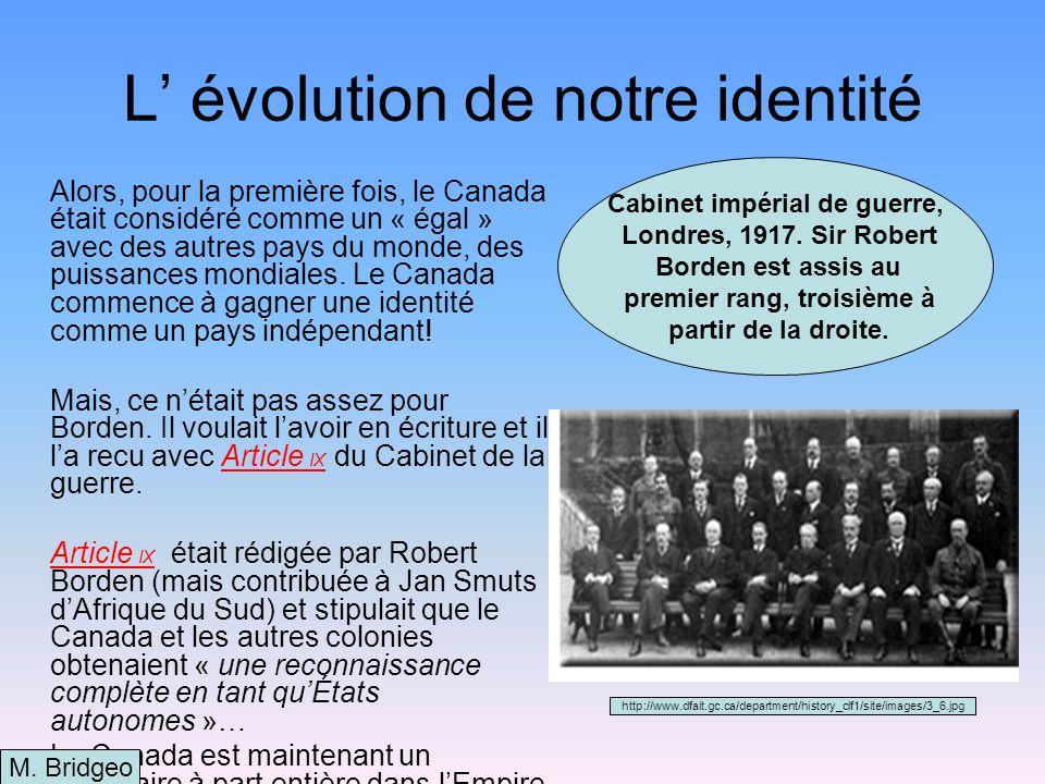 L' évolution de notre identité