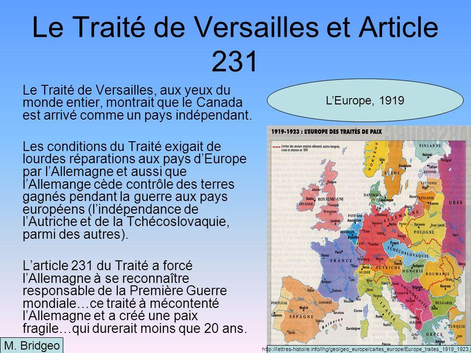 Le Traité de Versailles et Article 231