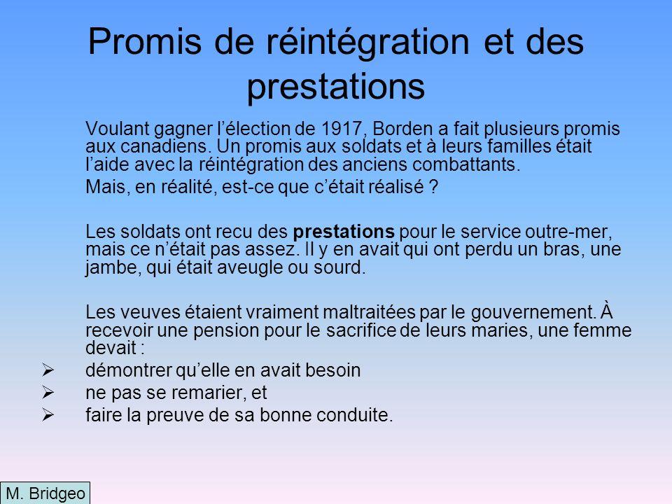 Promis de réintégration et des prestations