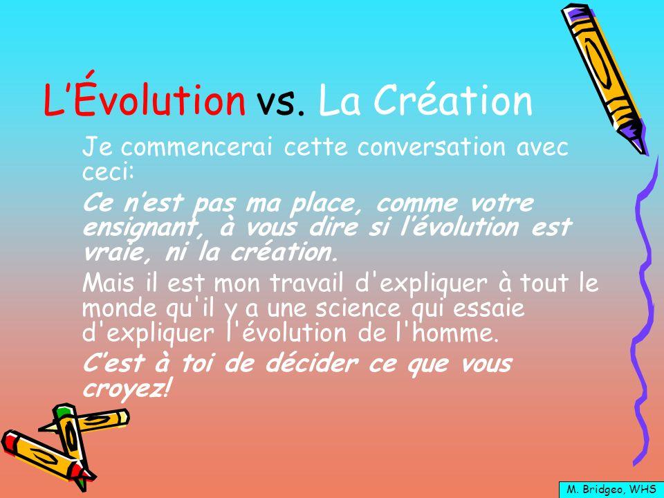 L'Évolution vs. La Création